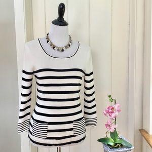 LOFT Black & White Striped Pima Cotton Sweater